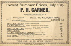 Advert for PH Garner, coal merchant